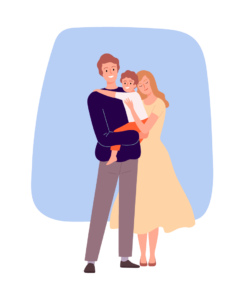 An Illustration of a Family Embracing their child