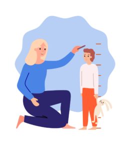 An illustration of a mom measuring her childs height with chalk